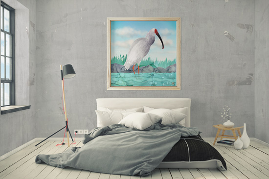 Large bedroom framed wall art with a crested ibis bird print