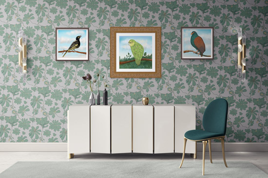 Luxury interior with exotic wallpaper and framed bird prints