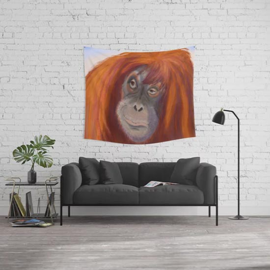 Orangutan Portrait - wall tapestry from Society6