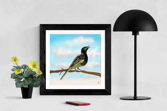 Framed art print of Regent Honeyeater bird