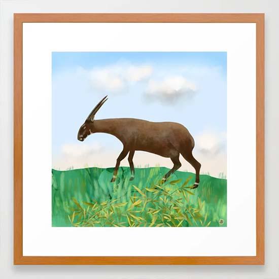 Saola animal - framed art print from Society6