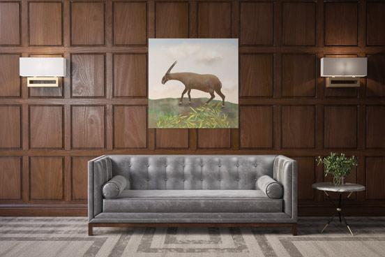 Saola canvas art in a mid-century decor room