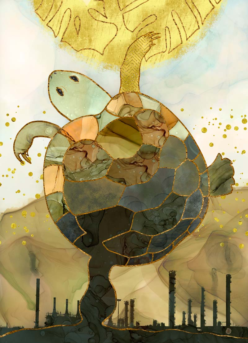 Turtle surrealist art with a climate change subject