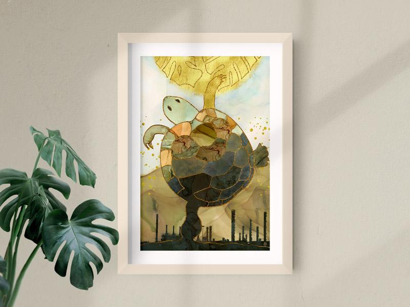 Colorful turtle framed art print
