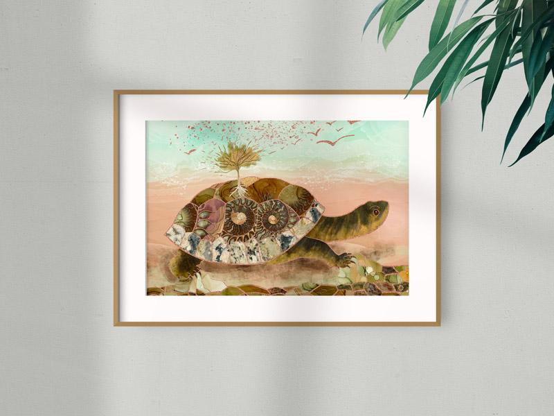 Framed art print of a surrealist turtle illustration